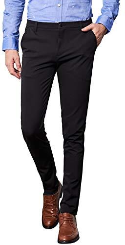 AiLoKoSo スラックス パンツ ズボン スーツパンツ ノータック ストレッチ 自宅で洗える ロングパンツ 長ズボン テーパードパンツ ウォッシャブル イージーパンツ ボトムス 仕事着 定番 ビジネス 通勤 美脚 細身 メンズ (SIZE:34, ブラック9715)