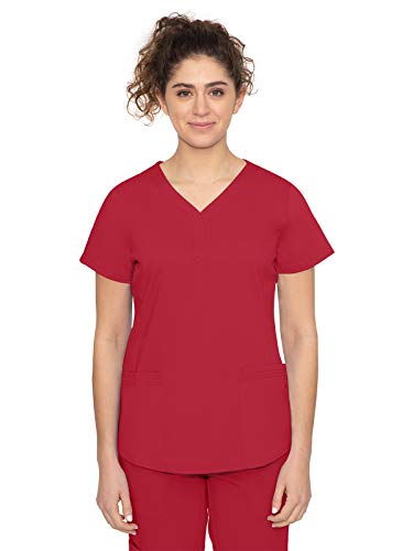 Purple Label by Healing Hands Scrubs Women's Jane V-neck 2 Pocket Top, X-Large - Red
