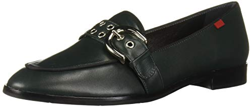 MARC JOSEPH NEW YORK Women's Leather Buckle Loafer with Grommet Detail, Emerald Green Nappa, 9.5 M US