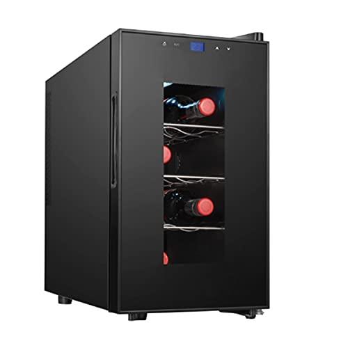 Taurus WC8T - Vinoteca termoeléctrica para 8 Botellas, 11-8ºC, silenciosa, no vibra, Aislamiento Especial del Interior, Puerta de Vidrio, Temperatura Regulable, Suave luz Interior, Negro