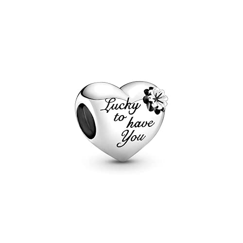 LaMenars - Dije de amor de la suerte de San Valentín para pulseras, colgantes de plata 925, cuentas para collares, para el día de la madre, cumpleaños, regalo de Navidad