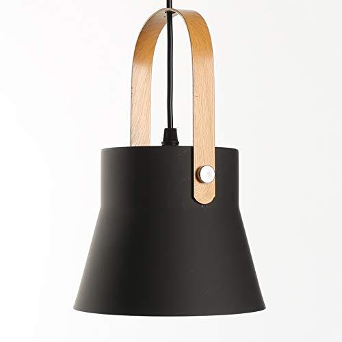 Minimalistiska moderna hängsmycken ljus metalllampa skugga träbeläggning metallhandtag hängande takbelysning för köksö vardagsrum matsal (svart)