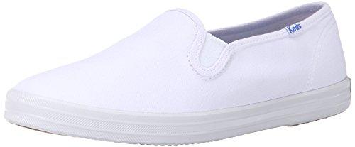 Keds Women's Champion Canvas Slip-On Sneaker, White, 7 Wide