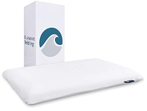 Bluewave Bedding Ultra Slim Gel Memory Foam Pillow for Stomach and Back Sleepers - Thin and Flat Design for Spinal Alignment, Better Breathing and Enhanced Sleeping (Full Pillow Shape, Standard Size)