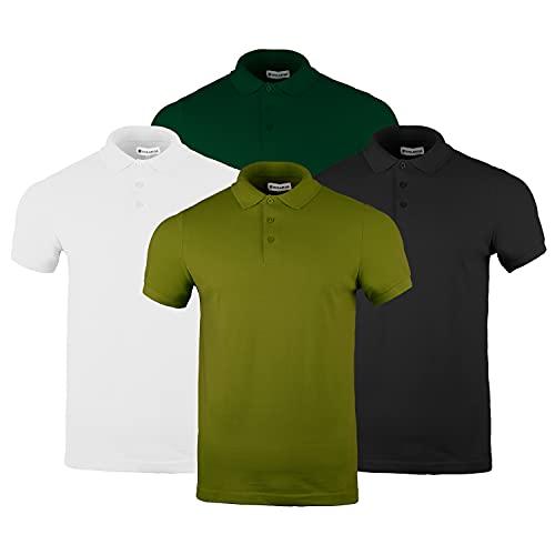 Polo de piqué de algodón 100% piqué, liso, manga corta, informal, para adultos, para trabajo, 4 unidades, 1xblack, 1xforest Green, 1xmilitary Green & 1xwhite, S