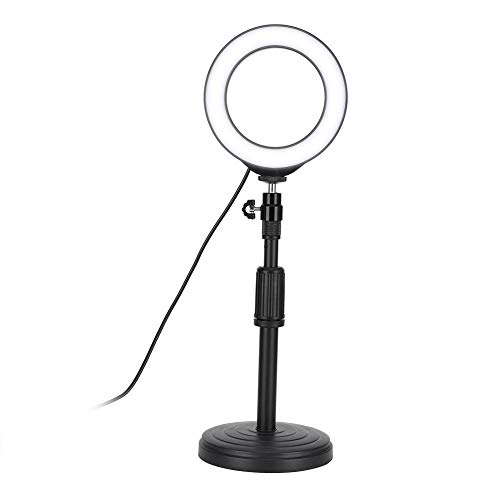 LED-ringvullicht, 3200-6500K LED-dimbare fotografie Selfie-lamp met ondersteuningsbasis voor make-up/livestream/camera, USB-poort Selfie Ring Light