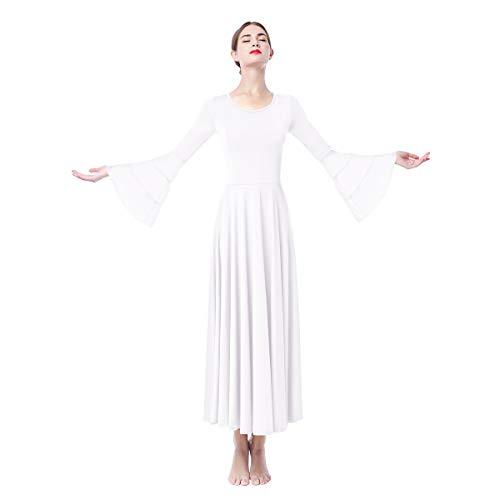 Adulto Mujer Casual Litrgico Vestido Manga Cuerno Jersey Color Slido Alabanza Vestidos Leotardo Gimnasia Maillot Clsica Combinacin Disfraz Bailarina Actuacin Fiesta Maxi Falda de Noche Blanco M