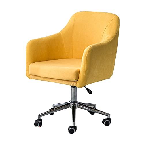 SACKDERTY Silla Decorativa giratoria Moderna, sillón de Tela de Altura Ajustable, sillón de relajación para Sala de Estar, Oficina, Sala de Lectura (Amarillo/Gris/Azul)