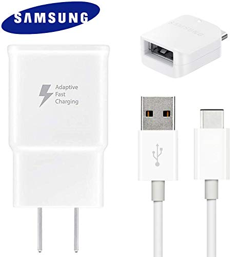 Samsung Fast Adaptive Wall Adapter Charger for Galaxy S7 Edge S6 Plus Note 5 4 J3 J5 J7 Prime EP-TA20JWE - 10 Foot Micro USB Cable and OTG Adapter - White