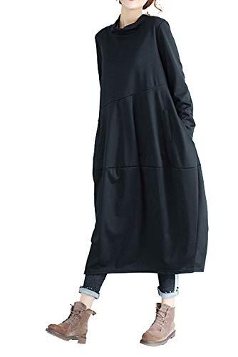 Landove Abiti Oversize per con T-shirt manica lunga con tasche casuale Kaftan Boho maxi autunno per Donna Nero Medio