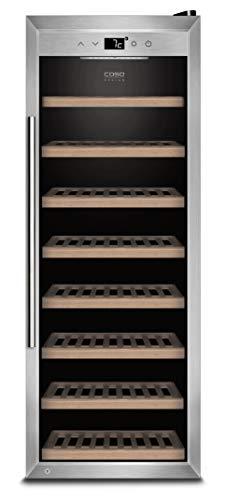 Caso WineSafe 43 Design Weinkühlschrank für bis zu 43 Flaschen (bis zu 310 mm Höhe), eine Temperaturzone 5-20°C, Getränkekühlschrank, Energieklasse A, edelstahl, schwarz