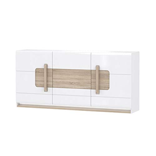 Meubletmoi dressoir 3 deuren wit gelakt en decor eiken met LED-verlichting - modern design - collectie Alexiane Wit en beige