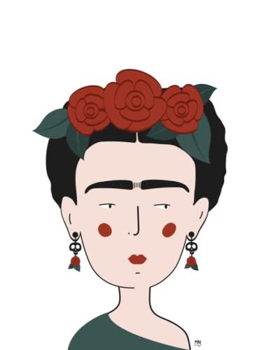 Cuaderno con ilustración Frida kahlo | 18,9x24,6cm | 60 páginas | libreta con rayas | tapa blanda: Cuaderno con líneas. Una ilustración de Frida Kahlo. Líneas para escribir tus notas.