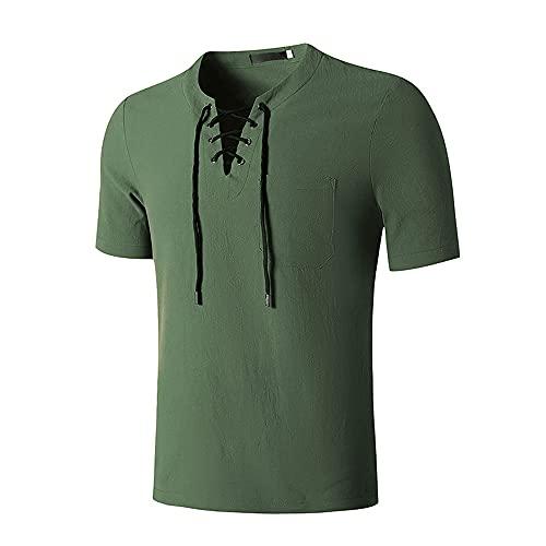 Shirt Hombre Básica Estilo Hip-Hop con Cordones Hombre T-Shirt Verano Color Sólido Hombre Shirt Casual Moderno Tendencia Moda Retro Manga Corta Hombre Ropa De Calle C-Green S