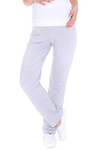 MijaCulture Schwangerschaftshose/Yogahose mit extra Bauch-Panel/Umstandsmode 3010 (L, Hellgrau)