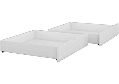 Erst-Holz® Bettkasten für unsere Etagenbetten - 2-teilig - Kiefer weiß - 90.10-S2 W