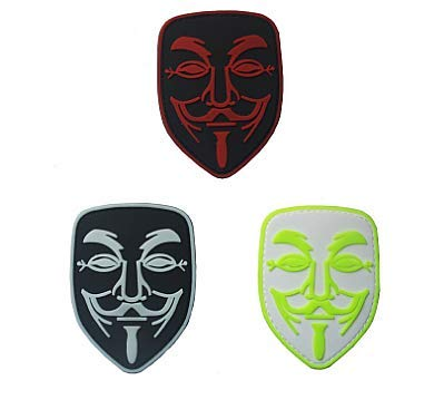 3 Pieces V for Vendetta Anonymous Calico Jack Military Hook Loop Tactics Morale PVC Patch (color4)