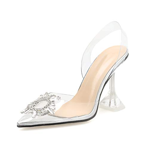 Women Sandals Clear High Heels Sandals Transparent PVC Slip On Sexy Shoes Women Pointed Toe Wedding Party Summer Pumps Shoes Silver
