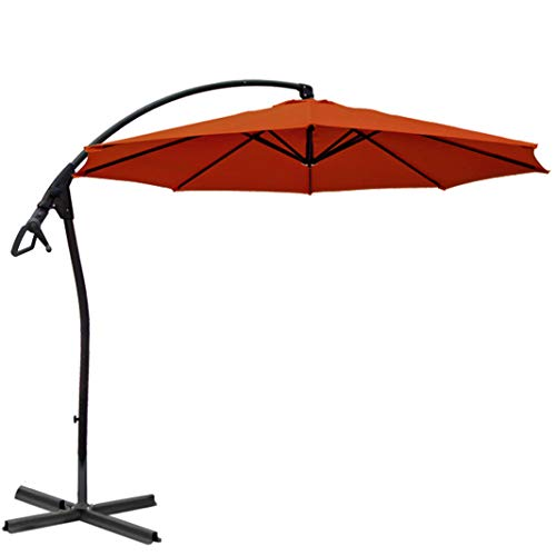 habeig WASSERDICHT Luxus Ampelschirm 3m Terrakotta rot durch PVC Schirm 300cm Sonnenschirm