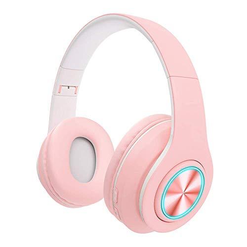 CLJ QWER Los más nuevos Auriculares Bluetooth para niños inalámbricos/con Cable en la Oreja para niños Adultos (Rosa)