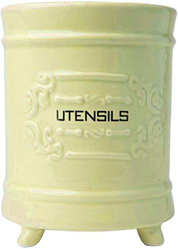 Porta utensilios de cerámica francesa - Cesta de utensilios de cocina de estilo vintage - Organizador de utensilios de cocina de diseño antiguo - Utensilios de campo para cocinar Enthuziast - amarillo
