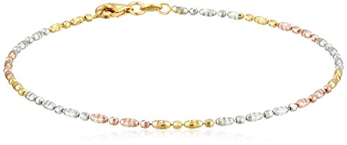 Sterling Silver Italian Tri-Color Diamond Cut Oval and Round Beads Mezzaluna Chain Anklet, 10