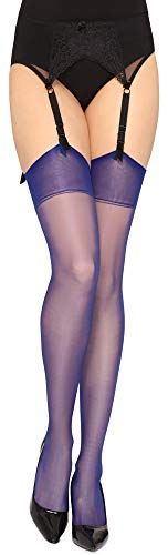 Merry Style Damen transparent Strapsstrümpfe MS 226 15 DEN(Cobalt, XL-XXL (46-50))