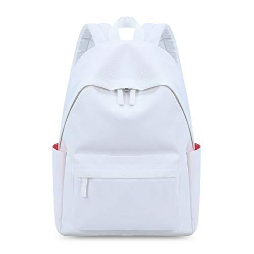 Acmebon Legerer, wasserfester Rucksack für Jungen und Mädchen. Einfarbiger Rucksack für Jugendliche Weiß
