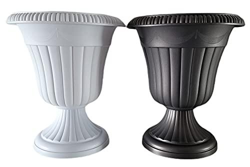 Macetas Plástico Grande para Interior Exterior | Únicos y Elegantes Maceteros Altos Jardineras Exterior Grandes (Blanco)