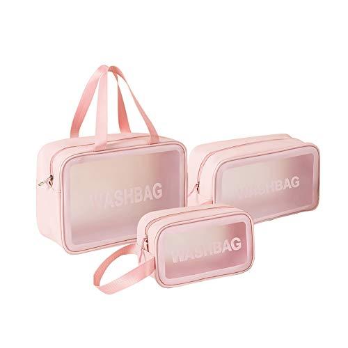 TABITORA(タビトラ) トイレタリーバッグ トラベルポーチ 化粧ポーチ 洗面用具入れ 旅行 収納バッグ 防水 小物整理 3点セット ピンク