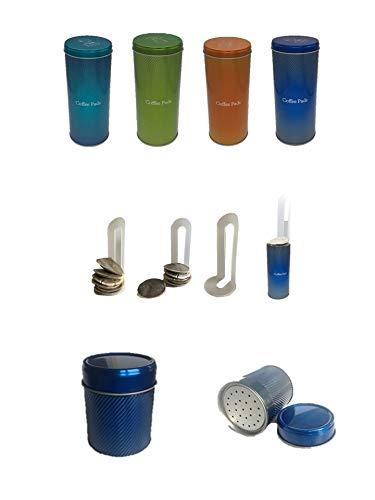 WAK Kaffeepaddose - Kaffeedose für Kaffeepads - Aufbewahrungsbehälter für Kaffeepads + Schokostreuer