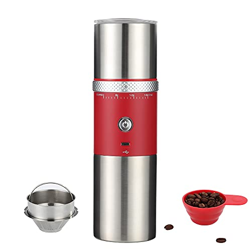 Portable Electric Burr Coffee Grinder Mini Coffee Maker with Grinder USB Rechargeable Coffee Bean Grinder Machine for Beans with 15 Gind Settings (Red)