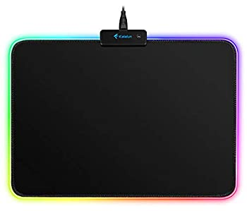 LED RGB Gaming Mouse Pad - Kalafun Small Light Up Mousepad with Non-Slip Rubber Base Soft Computer Mouse Mat 340×245×3mm
