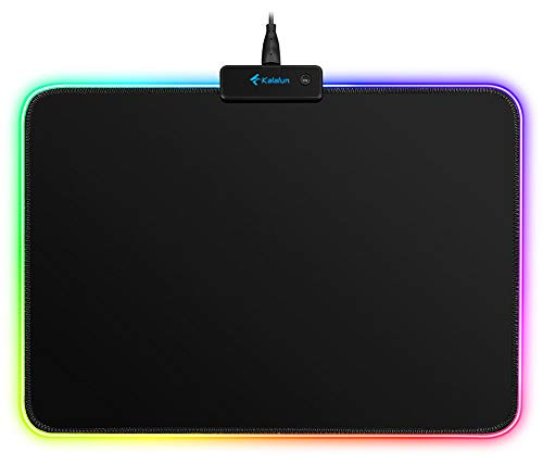 LED RGB Gaming Mouse Pad - Kalafun Small Light Up Mousepad with Non-Slip Rubber Base, Soft Computer Mouse Mat(340×245×3mm)