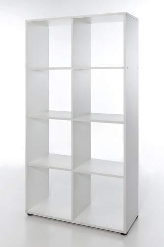 Raumteiler mit 8 Fächern, Weiß Dekor Melamin
