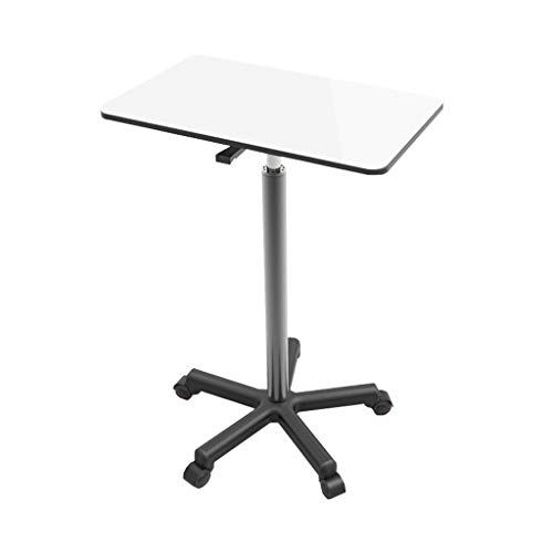 ZCY Laptoptisch Höhenverstellbar, Computertische Höhenverstellbarer Beistelltisch Mit Rollen, Mit Rollen, Drehbar, Rollentisch Mit Bremsen Pflegetisch Couchtisch (Color : White)