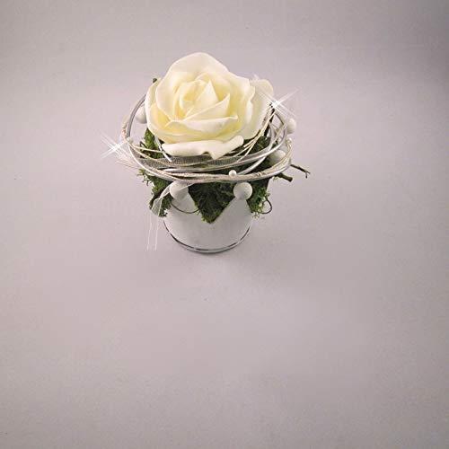 generisch Tischgesteck Tischdeko Hochzeit Kommunion Taufe Krone Rose