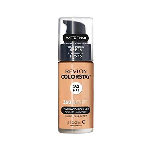 Revlon ColorStay Makeup for Combination/Oily Skin SPF 15, Longwear Liquid Foundation, with Medium-Full Coverage, Matte Finish, Oil Free, 260 Light Honey, 1.0 oz