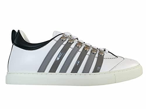 DSQUARED 2 zapatos de hombre Lace-up Low Top Sneaker 251 SNM0147 M1912 blanco y gris de piel Blanco Size: 43.5 EU