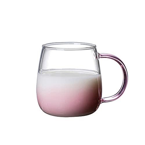 KINGBOO Farbige Glasbecher, einwandige Kaffeetasse aus Glas mit Griff für Tee, Milch, Latte, Cappuccino pink