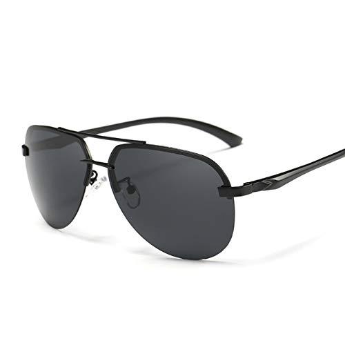 ERIOG Gafas de Sol Polarizadas Gafas de Sol polarizadas de piloto Vintage para Mujeres, Hombres, Medio Marco de Metal, Gafas de Sol Anti UV, Gafas de visión Nocturna de diseño