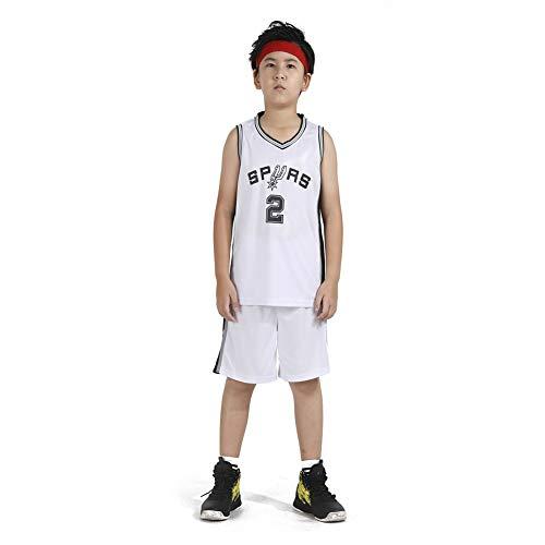 LCHENX-Boy and Girl Basketball Jersey NBA Spurs # 2 Leonard Basketball Mesh Jersey, Bianco, XL