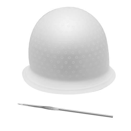 upain Gorro Mechas Peluqueria de Silicona Transparente Gorro de Tinte Sombrero para Teñir y Gancho Coloración del Pelo DIY