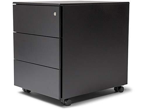 Modulor Rollcontainer aus Metall, abschließbarer Rollschrank (BxHxT: 42,2 x 53,5 x 54,2 cm) für den Schreibtisch, mit 3 Schubladen & 4 Rollen, schwarz