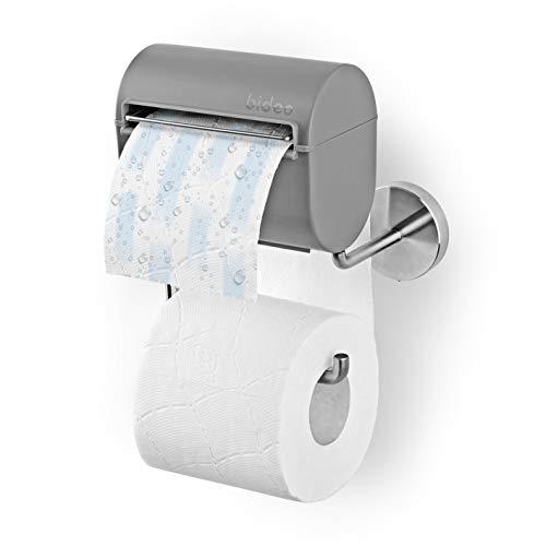bideo® Toilettenpapierhalterung inkl. Befeuchter, grau | Ohne Farb-, Duft- und Konservierungsstoffe | bideo Papierspender