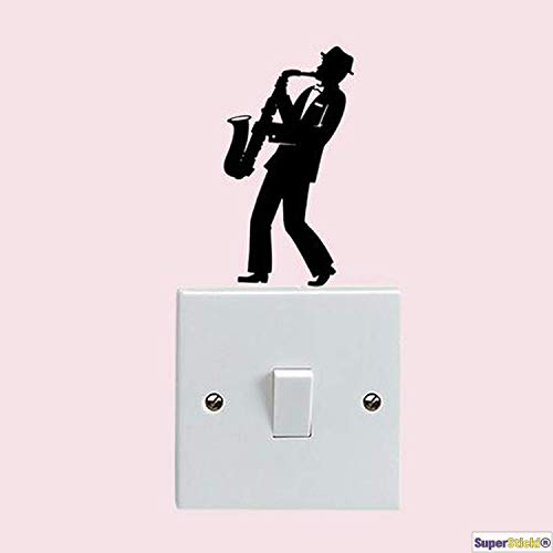 SUPERSTICKI Wandtattoo Steckdose Lichtschalter Saxophon Musik Deko Hobby Dekoration Home Basteln aus Hochleistungsfolie Aufkleber Autoaufkleber Tuningaufkleber Hochleistungsfolie für al