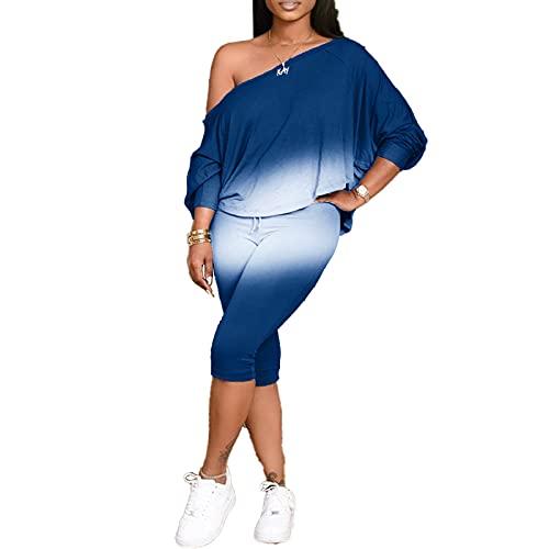 Vialogry Plus Size 2PCS Abiti da donna a maniche lunghe a maniche lunghe con pantaloni corti a vita alta, Blu, M