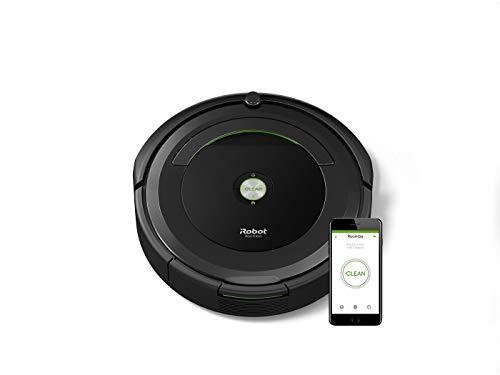 iRobot Roomba 696 Saugroboter (reinigt alle Hartböden und Teppiche, Dirt Detect Technologie, 3-Stufen-Reinigungssystem, WLAN-fähig und per App programmierbar und App Steuerung extra Zubehör) schwarz