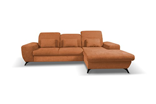 Canapé d'angle Orange Tissu Confort