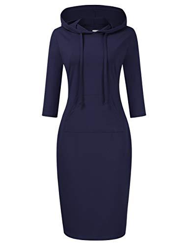 Clearlove Women Casual Sweatshirt 3/4 Sleeve Pocket Slim Pullover Hoodie Dress (Navy XL)